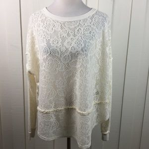 Free People Lace Sweater  Long Sleeve Cream Color
